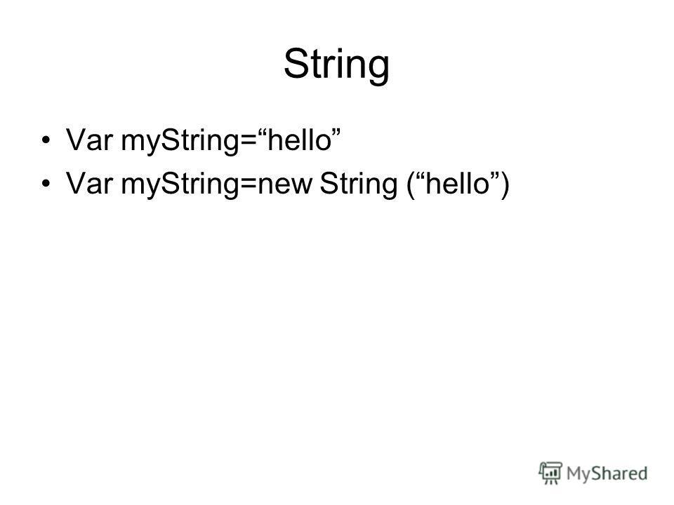 String Var myString=hello Var myString=new String (hello)