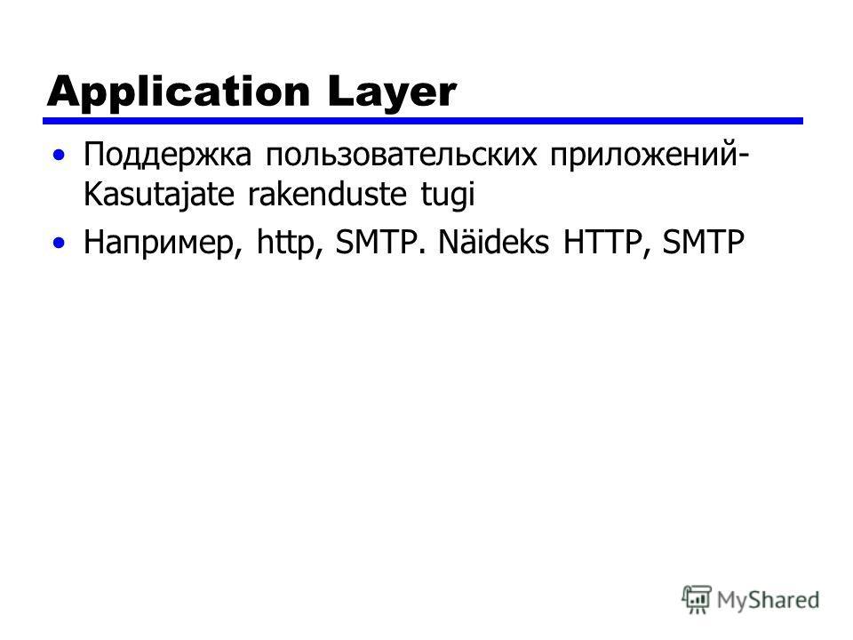 Application Layer Поддержка пользовательских приложений- Kasutajate rakenduste tugi Например, http, SMTP. Näideks HTTP, SMTP
