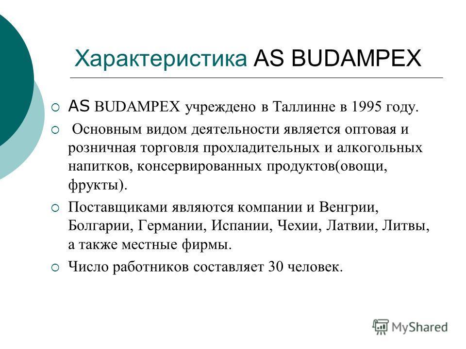 Характеристика AS BUDAMPEX AS BUDAMPEX учреждено в Таллинне в 1995 году. Основным видом деятельности является оптовая и розничная торговля прохладительных и алкогольных напитков, консервированных продуктов(овощи, фрукты). Поставщиками являются компан