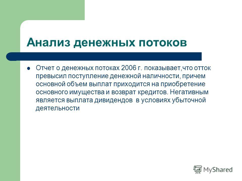 Анализ денежных потоков Отчет о денежных потоках 2006 г. показывает,что отток превысил поступление денежной наличности, причем основной объем выплат приходится на приобретение основного имущества и возврат кредитов. Негативным является выплата дивиде