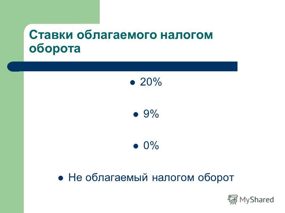 Ставки облагаемого налогом оборота 20% 9% 0% Не облагаемый налогом оборот