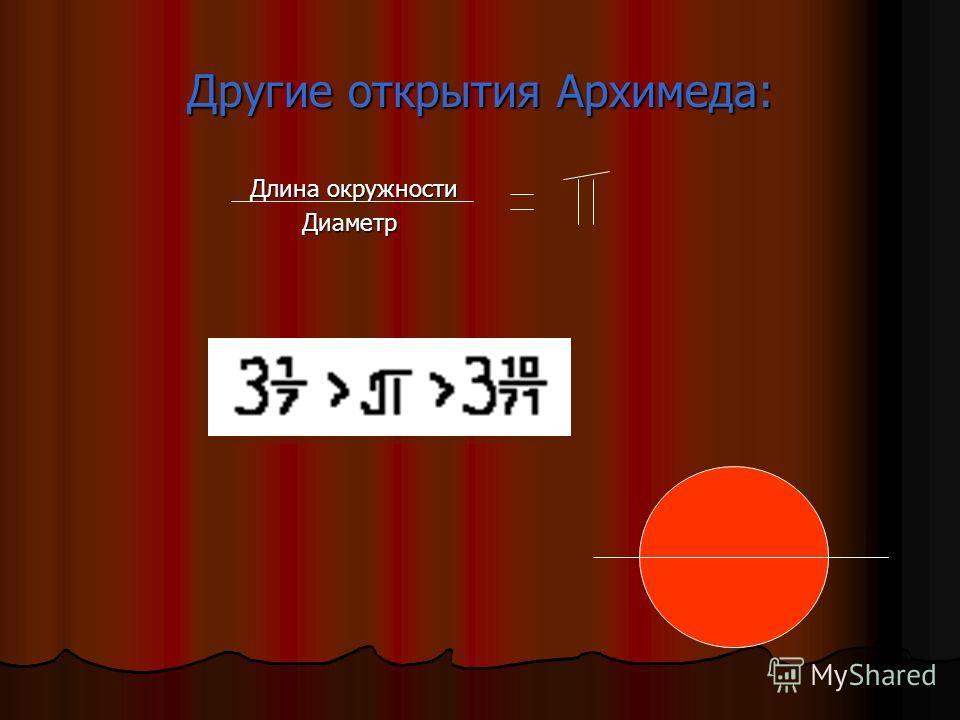 Семь трудов Архимеда: 1.О шаре и цилиндре 1.О шаре и цилиндре 2.Об измерении круга 2.Об измерении круга 3.О коноидах и сфероидах 3.О коноидах и сфероидах 4.О спиралях 4.О спиралях 5.О равновесии плоскостей 5.О равновесии плоскостей 6.О числе песчинок
