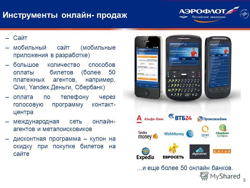 Инструменты онлайн- продаж 5 –Сайт –мобильный сайт (мобильные приложения в разработке) –большое количество способов оплаты билетов (более 50 платежных агентов, например, Qiwi, Yandex.Деньги, Сбербанк) –оплата по телефону через голосовую программу кон