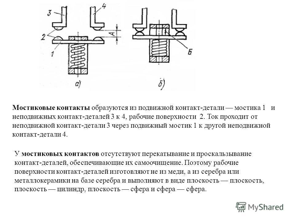 Мостиковые контакты образуются из подвижной контакт-детали мостика 1 и неподвижных контакт-деталей 3 к 4, рабочие поверхности 2. Ток проходит от неподвижной контакт-детали 3 через подвижный мостик 1 к другой неподвижной контакт-детали 4. У мостиковых