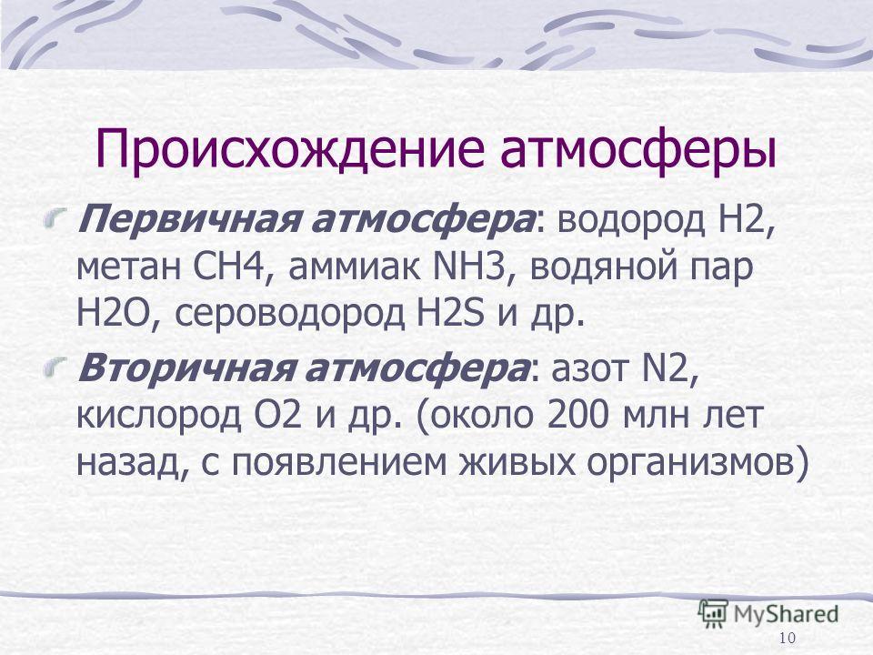Происхождение атмосферы Первичная атмосфера: водород H2, метан CH4, аммиак NH3, водяной пар H2O, сероводород H2S и др. Вторичная атмосфера: азот N2, кислород O2 и др. (около 200 млн лет назад, с появлением живых организмов) 10