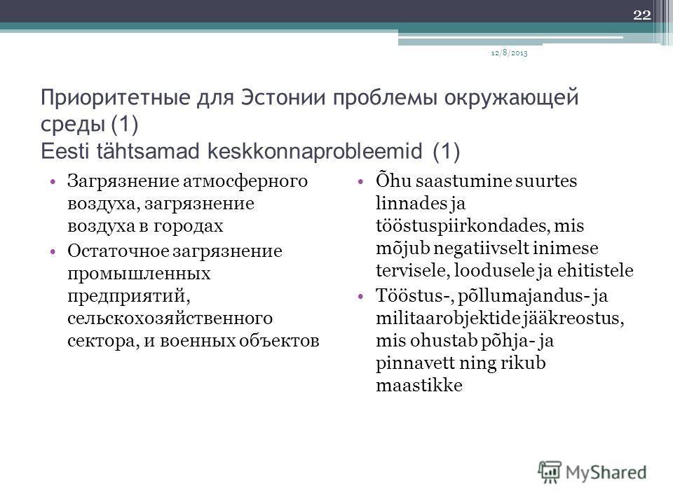 Приоритетные для Эстонии проблемы окружающей среды (1) Eesti tähtsamad keskkonnaprobleemid (1) Загрязнение атмосферного воздуха, загрязнение воздуха в городах Остаточное загрязнение промышленных предприятий, сельскохозяйственного сектора, и военных о