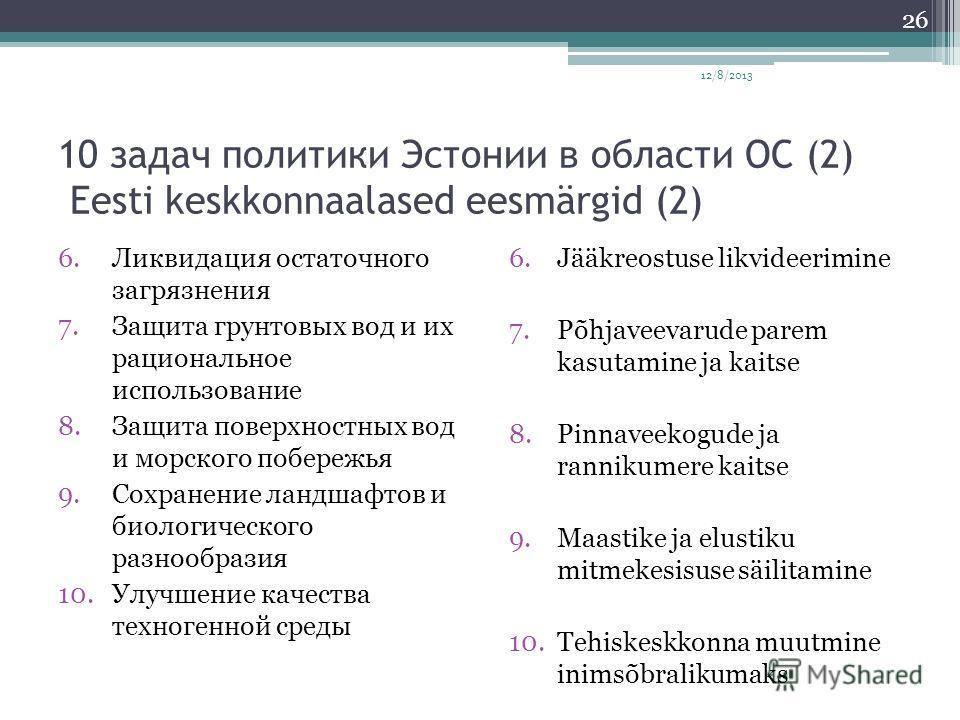 10 задач политики Эстонии в области ОС (2) Eesti keskkonnaalased eesmärgid (2) 6.Ликвидация остаточного загрязнения 7.Защита грунтовых вод и их рациональное использование 8.Защита поверхностных вод и морского побережья 9.Сохранение ландшафтов и биоло