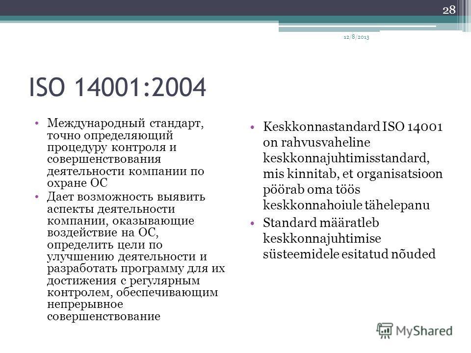 ISO 14001:2004 Международный стандарт, точно определяющий процедуру контроля и совершенствования деятельности компании по охране ОС Дает возможность выявить аспекты деятельности компании, оказывающие воздействие на ОС, определить цели по улучшению де
