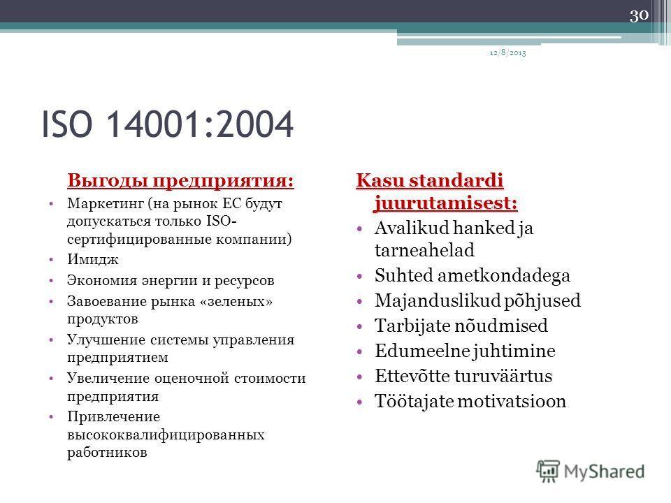 ISO 14001:2004 Выгоды предприятия: Маркетинг (на рынок ЕС будут допускаться только ISO- сертифицированные компании) Имидж Экономия энергии и ресурсов Завоевание рынка «зеленых» продуктов Улучшение системы управления предприятием Увеличение оценочной