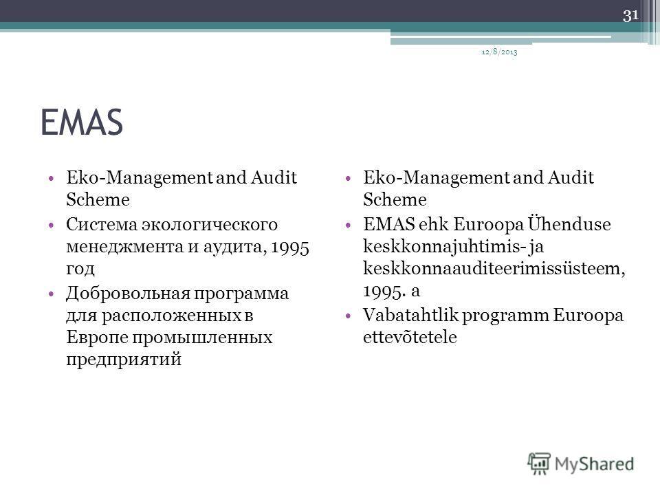 EMAS Eko-Management and Audit Scheme Система экологического менеджмента и аудита, 1995 год Добровольная программа для расположенных в Европе промышленных предприятий Eko-Management and Audit Scheme EMAS ehk Euroopa Ühenduse keskkonnajuhtimis- ja kesk