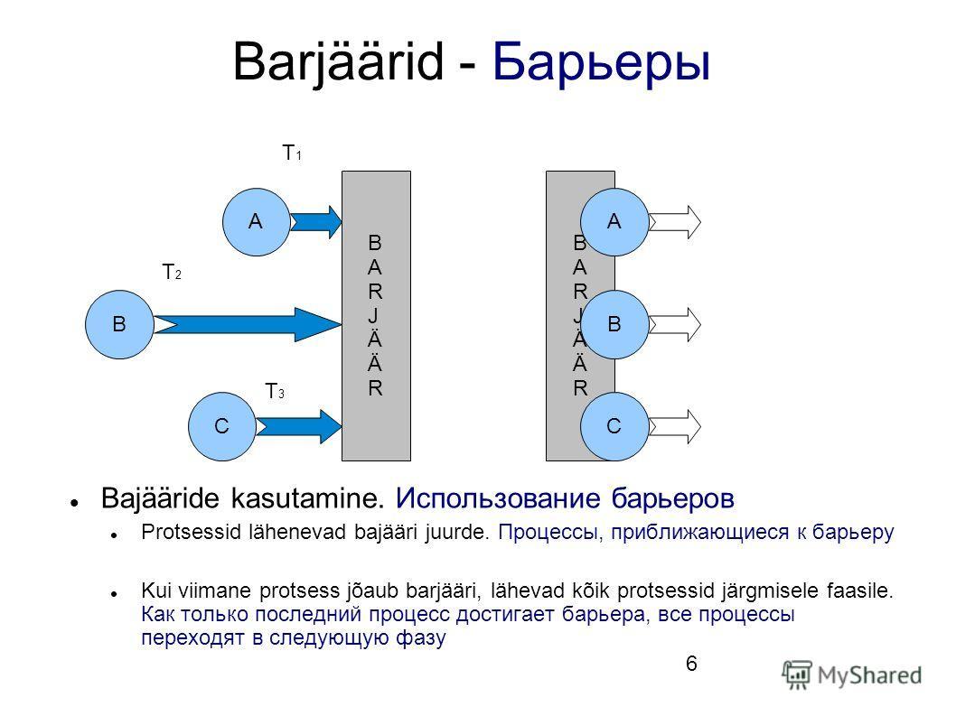 6 BARJÄÄRBARJÄÄR Barjäärid - Барьеры Bajääride kasutamine. Использование барьеров Protsessid lähenevad bajääri juurde. Процессы, приближающиеся к барьеру Kui viimane protsess jõaub barjääri, lähevad kõik protsessid järgmisele faasile. Как только посл