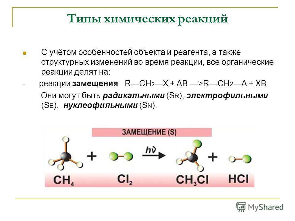 Типы химических реакций С учётом особенностей объекта и реагента, а также структурных изменений во время реакции, все органические реакции делят на: - реакции замещения: RСН 2X + АВ >RСН 2 А + ХВ. Они могут быть радикальными (S R ), электрофильными (