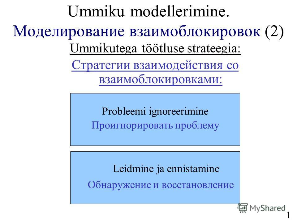 13 Ummiku modellerimine. Моделирование взаимоблокировок (2) Ummikutega töötluse strateegia: Стратегии взаимодействия со взаимоблокировками: Probleemi ignoreerimine Проигнорировать проблему Leidmine ja ennistamine Обнаружение и восстановление