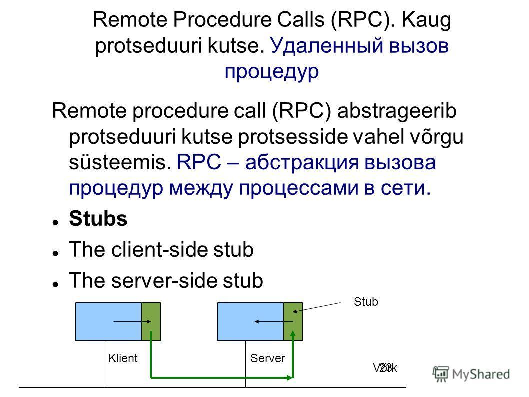 23 Remote Procedure Calls (RPC). Kaug protseduuri kutse. Удаленный вызов процедур Remote procedure call (RPC) abstrageerib protseduuri kutse protsesside vahel võrgu süsteemis. RPC – абстракция вызова процедур между процессами в сети. Stubs The client