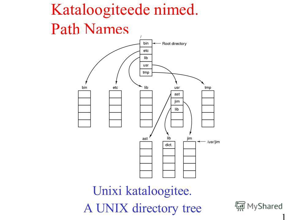 13 Unixi kataloogitee. A UNIX directory tree Kataloogiteede nimed. Path Names