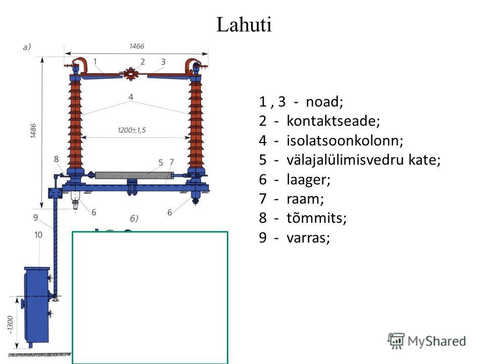 Lahuti Привод отделителя (б): 1 - планка; 2 и 3 - электромагниты; 4 - конец вала привода; 5 - рычаг для подъема рычага 9; 6 - тяга; 7 - планка; 8 - рычаг; 9 - серповидный рычаг; 10 - планка; 11 - вал привода; 12 - удерживающая стойка; 13 - рычаг; 14