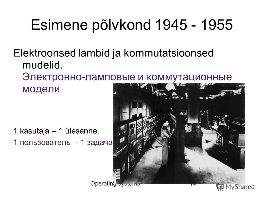 Operating systems14 Esimene põlvkond 1945 - 1955 Elektroonsed lambid ja kommutatsioonsed mudelid. Электронно-ламповые и коммутационные модели 1 kasutaja – 1 ülesanne. 1 пользователь - 1 задача