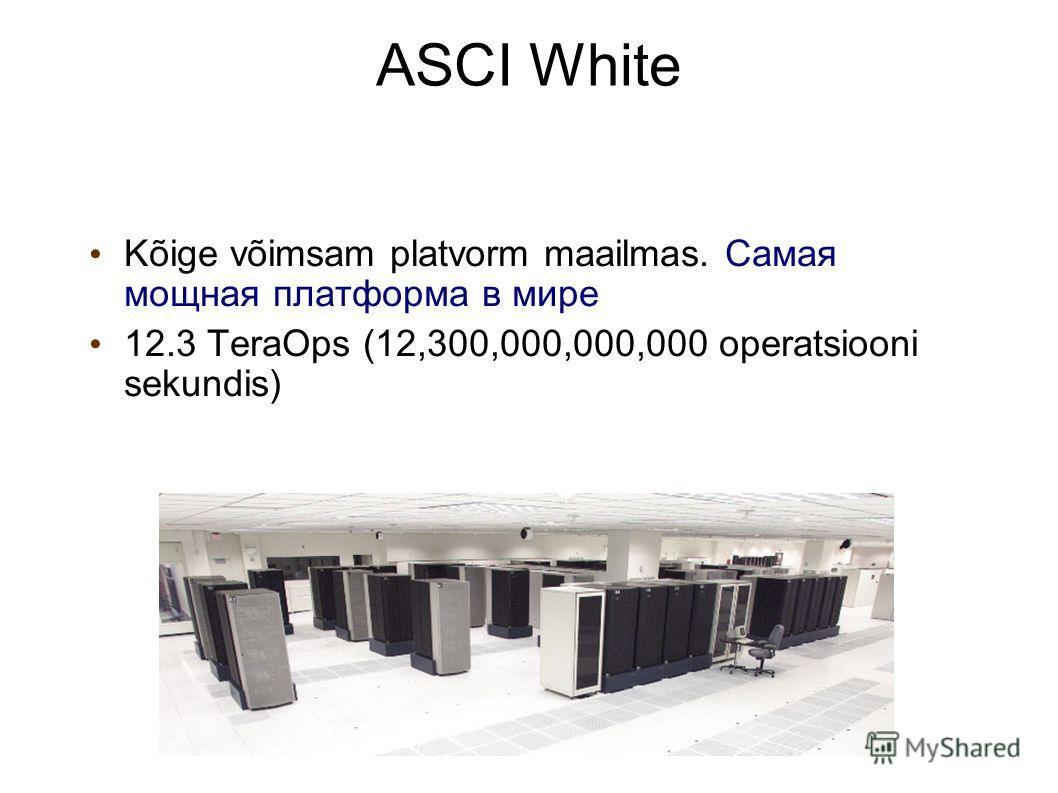 Operating systems21 ASCI White Kõige võimsam platvorm maailmas. Самая мощная платформа в мире 12.3 TeraOps (12,300,000,000,000 operatsiooni sekundis)
