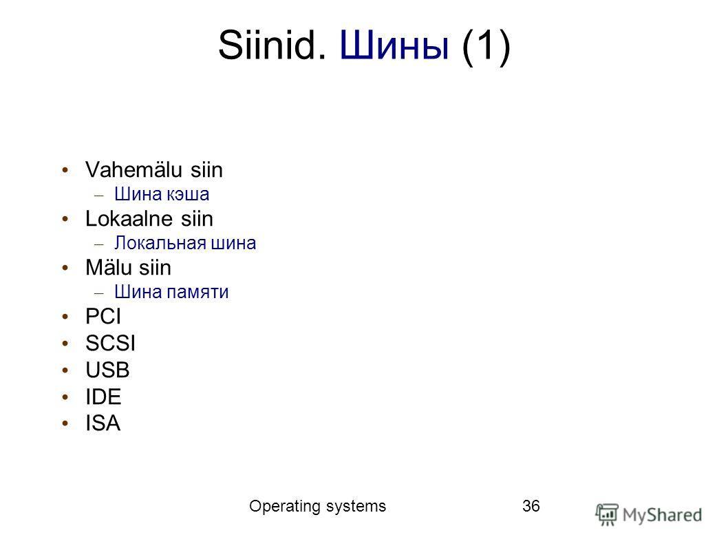 Operating systems36 Siinid. Шины (1) Vahemälu siin – Шина кэша Lokaalne siin – Локальная шина Mälu siin – Шина памяти PCI SCSI USB IDE ISA