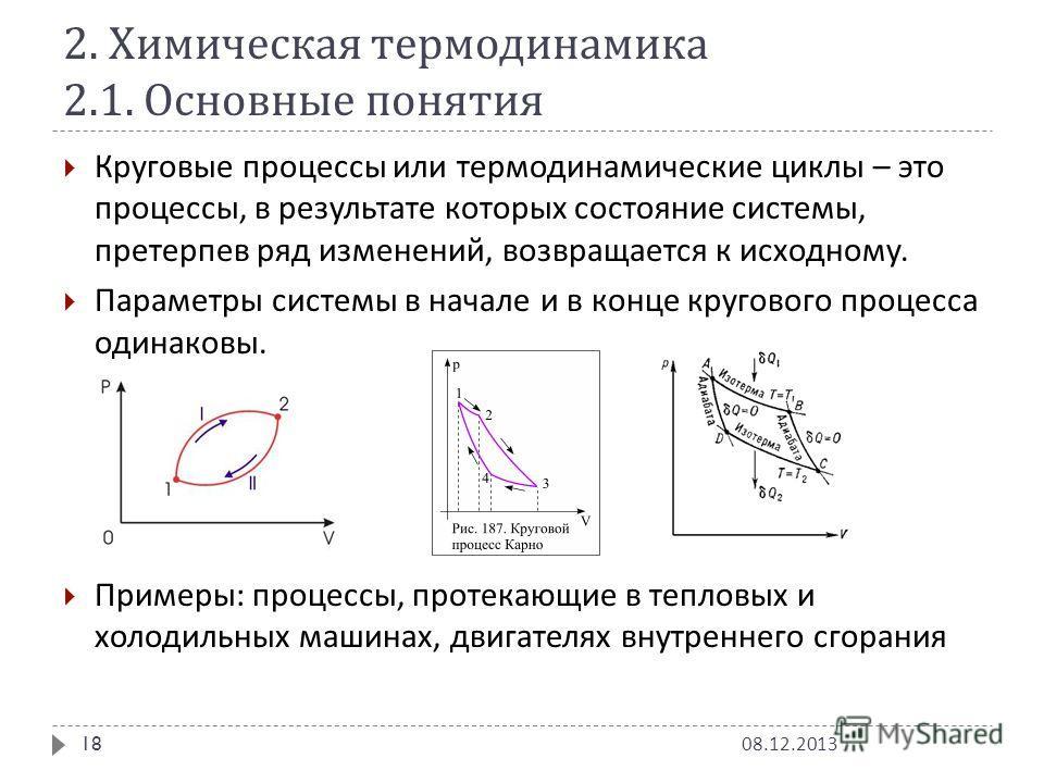 2. Химическая термодинамика 2.1. Основные понятия Круговые процессы или термодинамические циклы – это процессы, в результате которых состояние системы, претерпев ряд изменений, возвращается к исходному. Параметры системы в начале и в конце кругового