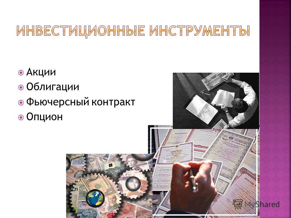 Акции Облигации Фьючерсный контракт Опцион