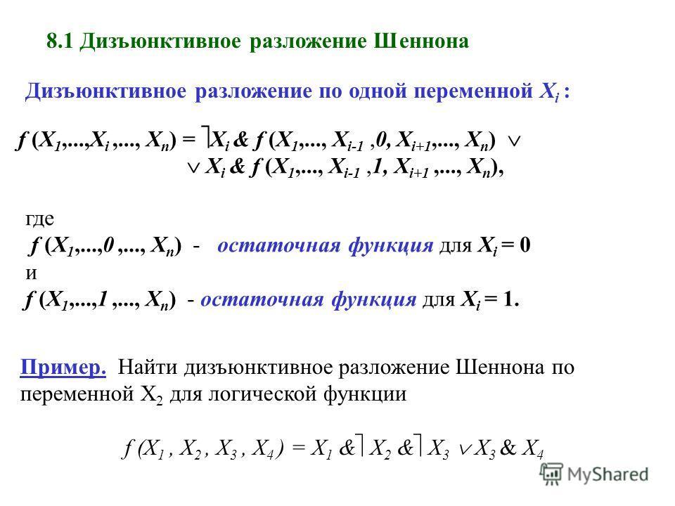 8.1 Дизъюнктивное разложение Шеннона Дизъюнктивное разложение по одной переменной X i : f (X 1,...,X i,..., X n ) = X i & f (X 1,..., X i-1,0, X i+1,..., X n ) X i & f (X 1,..., X i-1,1, X i+1,..., X n ), где f (X 1,...,0,..., X n ) - остаточная функ
