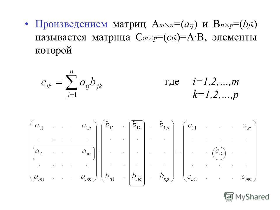 Произведением матриц A m×n =(a ij ) и B n×p =(b jk ) называется матрица C m×p =(c ik )=A·B, элементы которой гдеi=1,2,…,m k=1,2,…,p