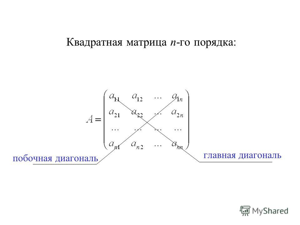 Квадратная матрица n-го порядка: главная диагональ побочная диагональ