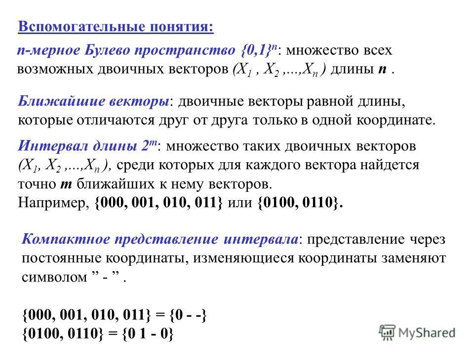 Вспомогательные понятия: n-мерное Булево пространство {0,1} n : множество всех возможных двоичных векторов (X 1, X 2,...,X n ) длины n. Ближайшие векторы: двоичные векторы равной длины, которые отличаются друг от друга только в одной координате. Инте