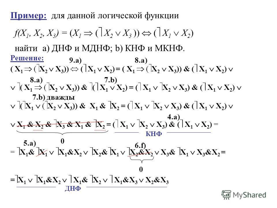 найти а) ДНФ и МДНФ; b) КНФ и МКНФ. Пример: для данной логической функции f(X 1, X 2, X 3 ) = (X 1 ( X 2 X 3 )) ( X 1 X 2 ) Решение: ( X 1 ( X 2 X 3 )) ( X 1 X 2 ) = ( X 1 ( X 2 X 3 )) & ( X 1 X 2 ) ( X 1 ( X 2 X 3 )) & ( X 1 X 2 ) = ( X 1 X 2 X 3 )
