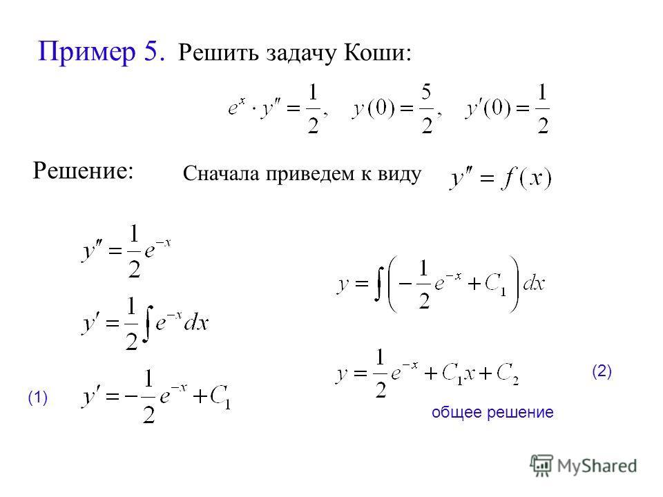 Пример 5. Решить задачу Коши: Решение: Сначала приведем к виду общее решение (1) (2)