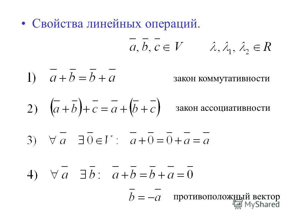 Свойства линейных операций. закон коммутативности закон ассоциативности противоположный вектор