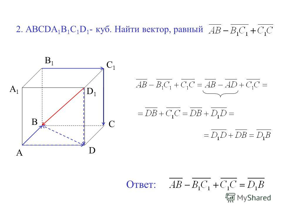 2. ABCDA 1 B 1 C 1 D 1 - куб. Найти вектор, равный A B C D A1A1 B1B1 C1C1 D1D1 Ответ: