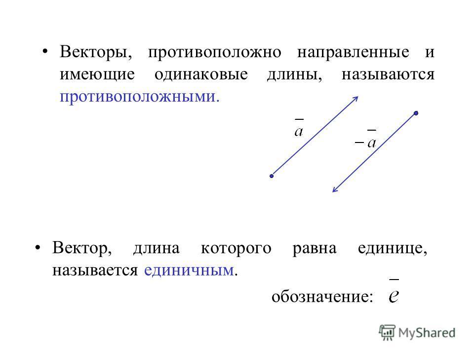 Векторы, противоположно направленные и имеющие одинаковые длины, называются противоположными. Вектор, длина которого равна единице, называется единичным. обозначение:
