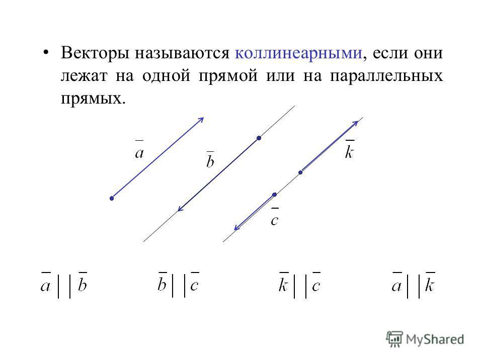 Векторы называются коллинеарными, если они лежат на одной прямой или на параллельных прямых.