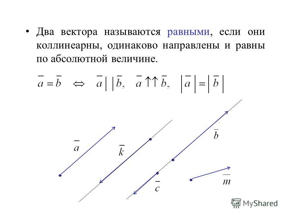 Два вектора называются равными, если они коллинеарны, одинаково направлены и равны по абсолютной величине.