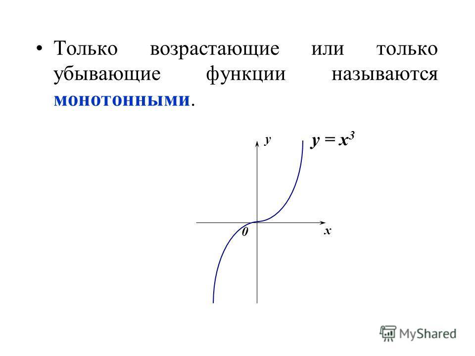 Только возрастающие или только убывающие функции называются монотонными. x y 0 y = x 3