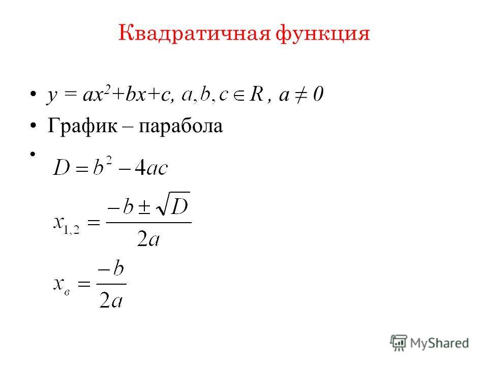 Квадратичная функция y = ax 2 +bx+c,, a 0 График – парабола