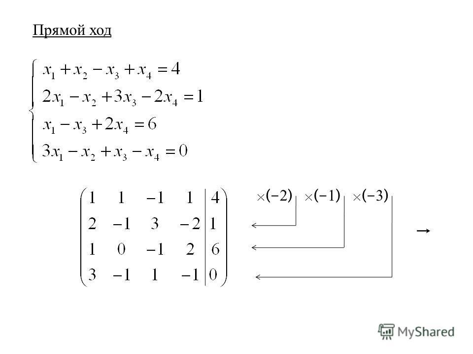 Прямой ход × (- 2 ) × (- 1 ) × (- 3 )