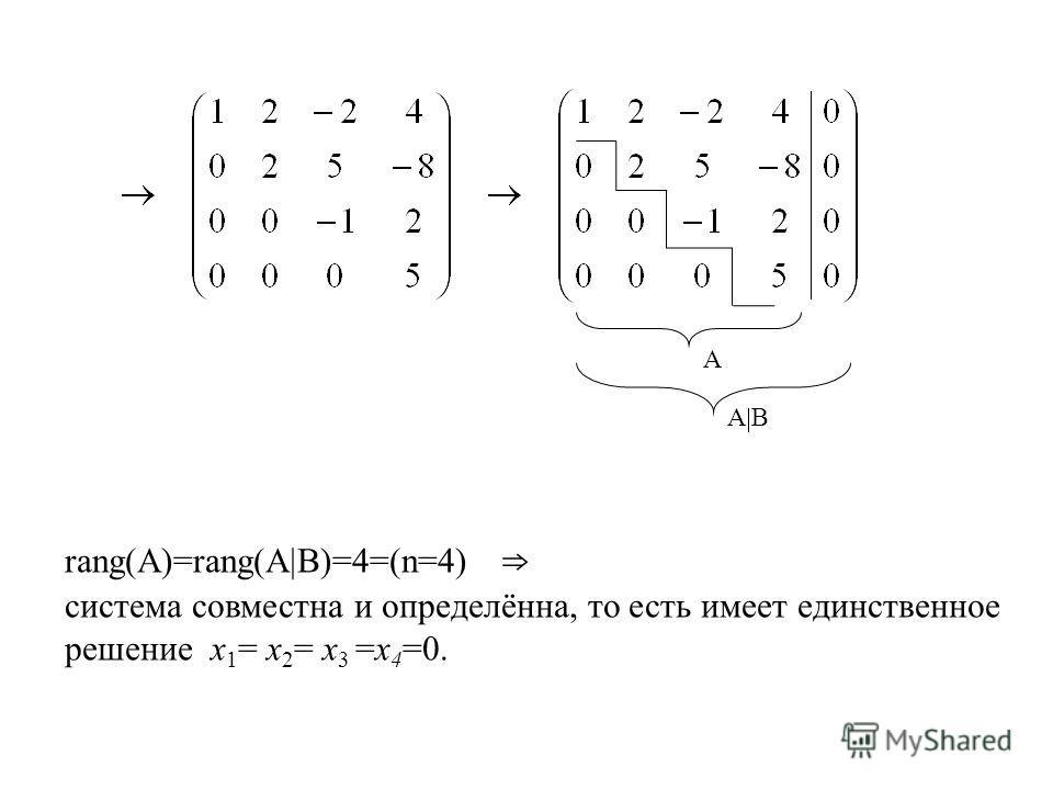 rang(A)=rang(A B)=4=(n=4) система совместна и определённа, то есть имеет единственное решение х 1 = х 2 = х 3 =х 4 =0. А A B