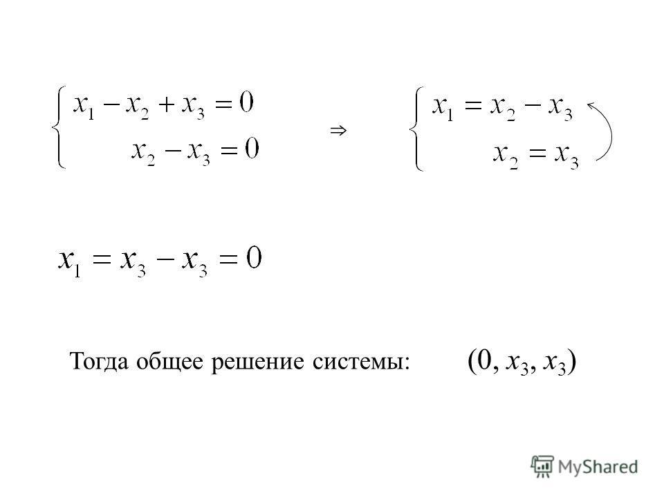 Тогда общее решение системы: (0, х 3, х 3 )