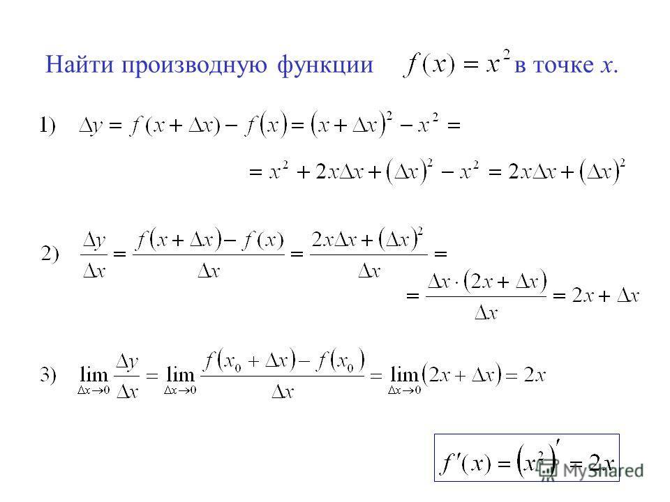 Найти производную функции в точке х.
