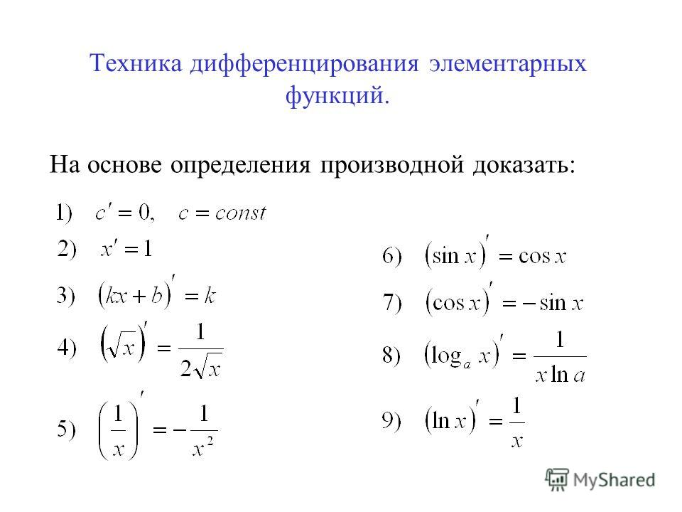 Техника дифференцирования элементарных функций. На основе определения производной доказать: