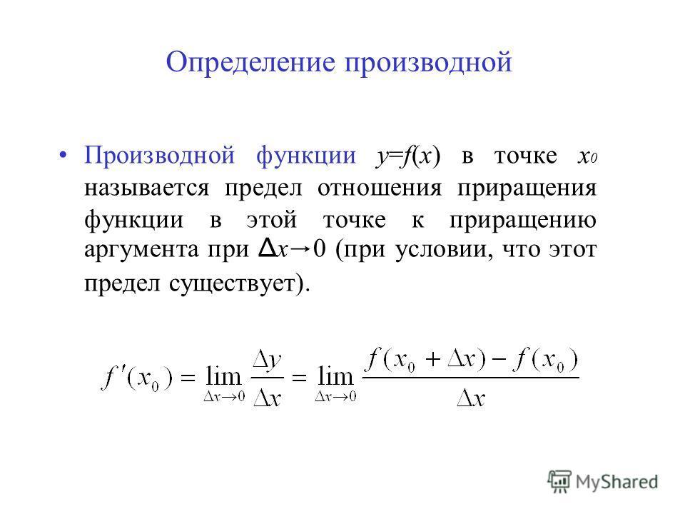 Определение производной Производной функции y=f(x) в точке х 0 называется предел отношения приращения функции в этой точке к приращению аргумента при Δ х 0 (при условии, что этот предел существует).