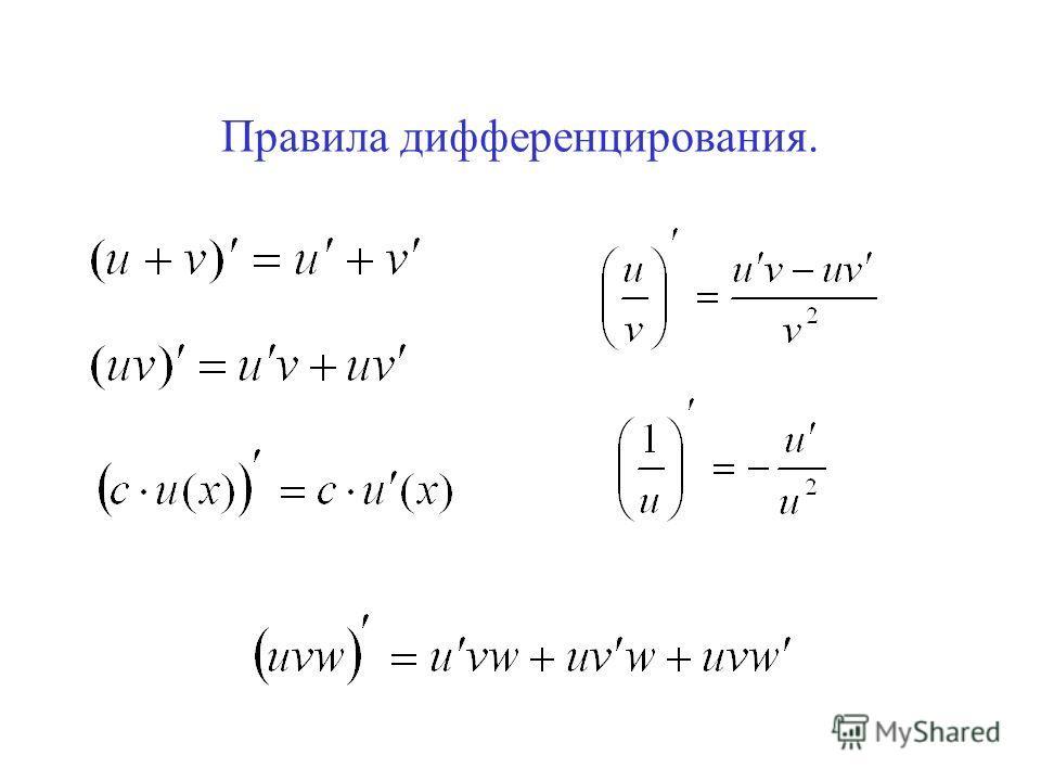 Правила дифференцирования.