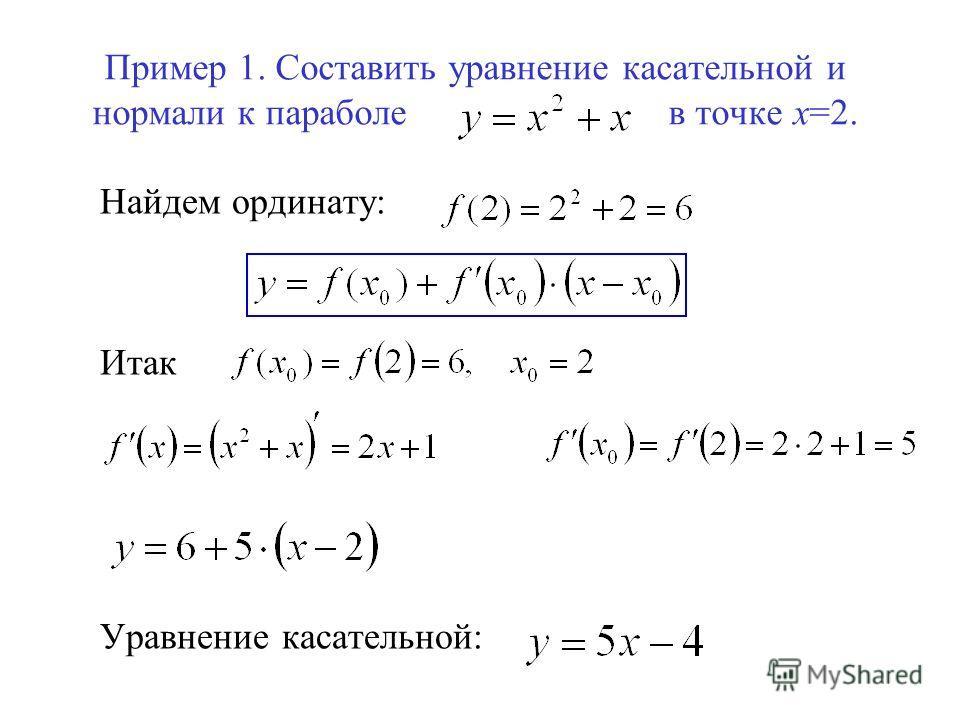 Пример 1. Составить уравнение касательной и нормали к параболе в точке х=2. Найдем ординату: Итак Уравнение касательной: