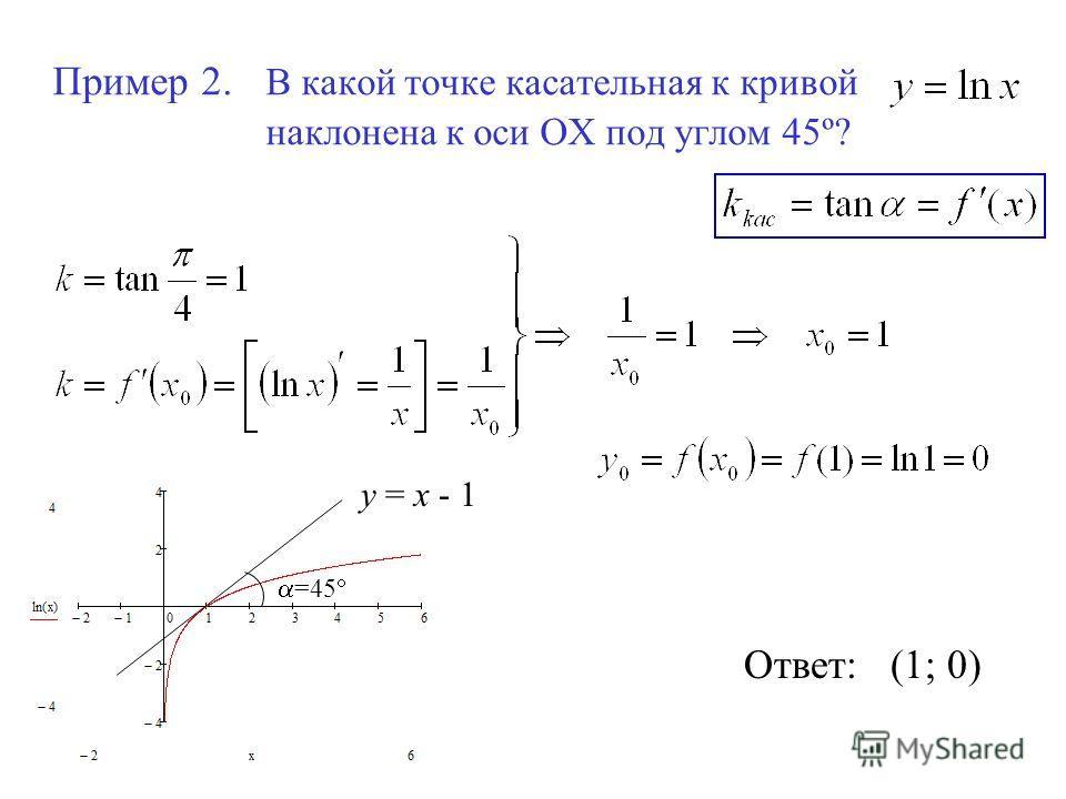 Пример 2. В какой точке касательная к кривой наклонена к оси ОХ под углом 45º? Ответ: (1; 0) =45 у = х - 1