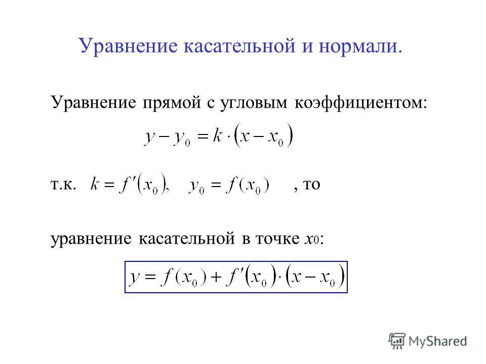 Уравнение касательной и нормали. Уравнение прямой с угловым коэффициентом: т.к., то уравнение касательной в точке х 0 :