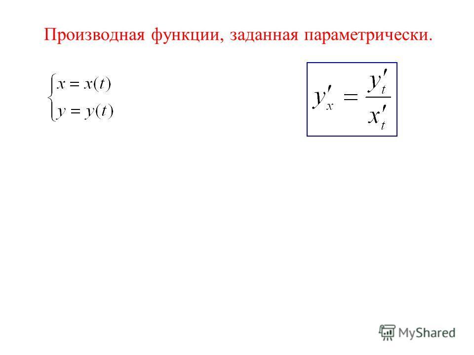 Производная функции, заданная параметрически.