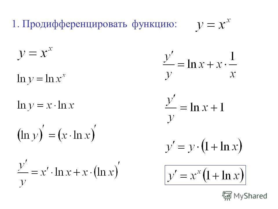 1. Продифференцировать функцию:
